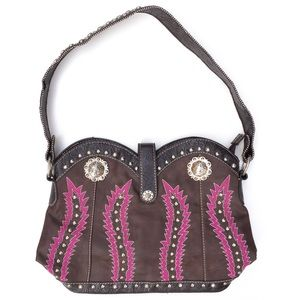 Southwestern Brown Studded Tooled Leather Purse